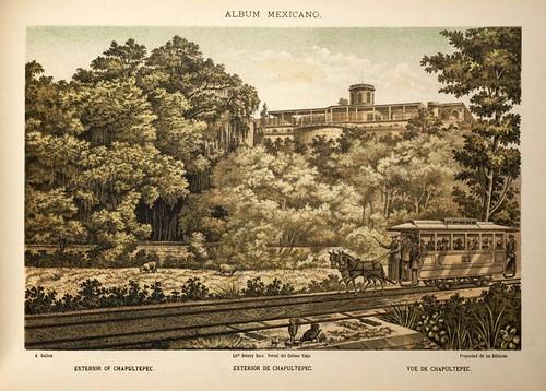 008-Exterior de Chapultepec- Album Mexicano  Coleccion de Paisajes Monumentos Costumbres..1875-1855