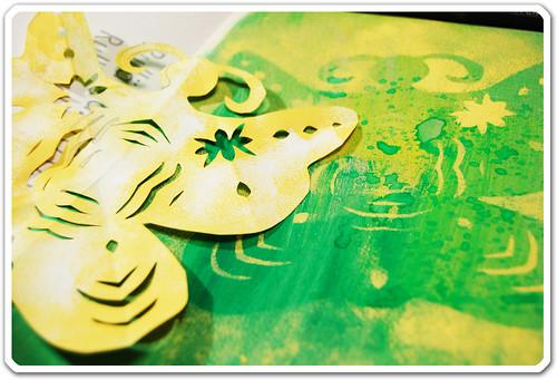 Papercut as stencil
