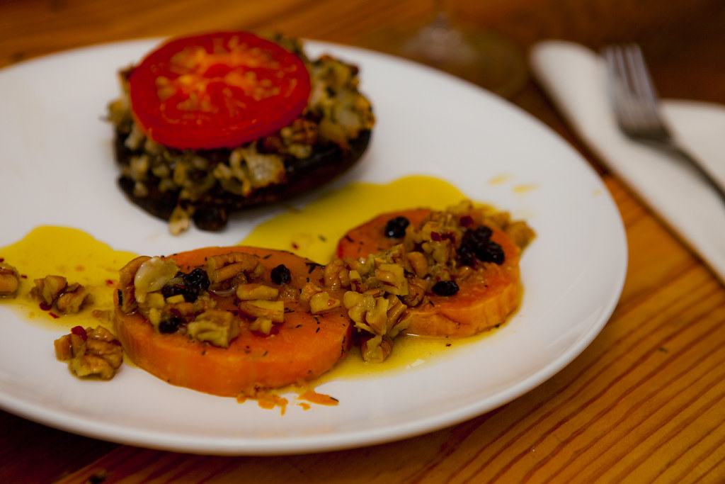 Harvest-stuffed Portobello Mushrooms and Butternut Squash with Pecans and Currants