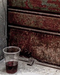 """After The Party"" (giannipaoloziliani) Tags: drink genova genoacity flickr trasparence plastic morning walking afterparty party rosso muro wall bicchiere details streetphotography leftovers red partialcolor partial color glass"