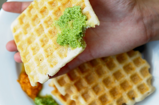 Waffles with chutneys
