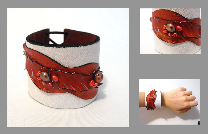 White leather cuff bracelet with red wine freshwater pearls