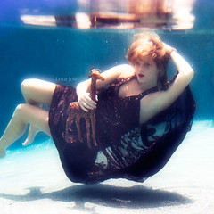 a vaccuum of youth (leslie.june) Tags: brown reflection water girl square underwater surreal floating squareformat blonde trippy giraffee browndress lesliejunephotography lesliejune