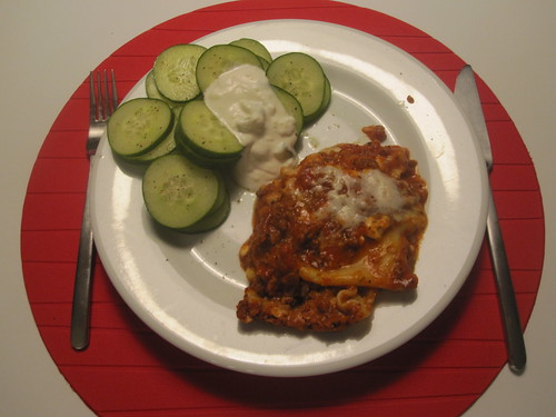 Cucumber slices with tzatziki, lasagna