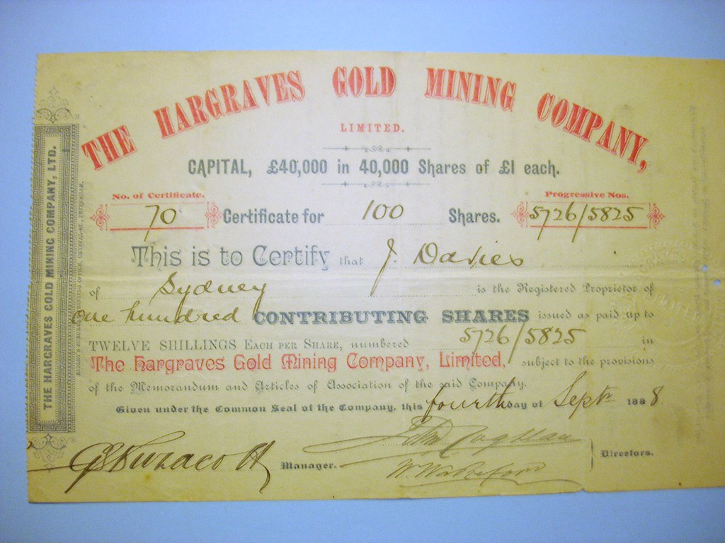 Hargraves G.M. Co. 1888 Share Certificate (100 Contributing)