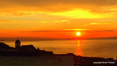 Sunrise at Kinghorn (B4bees) Tags: red summer sky nature yellow sunrise wonderful dawn scotland fife best northsea yellows reds tankers firthofforth surprising kinghorn parishchurch towntanker