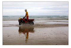 Lifeguard on Quad bike - Watergate Bay (Mark-Crossfield) Tags: pictures uk greatbritain sea england rescue reflection beach coast photo sand watergatebay cornwall waves image photos sandy picture wave lifeguard images safety beaches watergate sandybeach quadbike rnli bigwave photosof picturesof nearnewquay imagesof watergatebayhotel markcrossfield