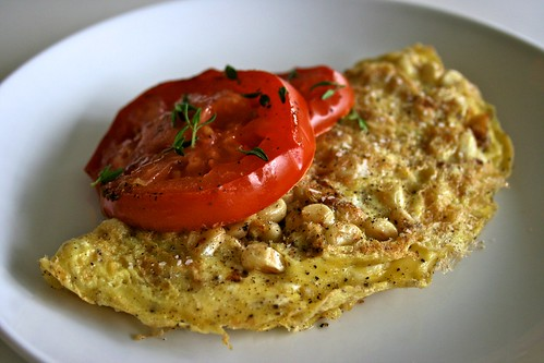Sweet Corn & Goat Cheese Omelet with Oven Roasted Tomatoes | The ...