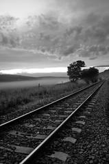 Late night (Nagy Gbor) Tags: railroad bw fog clouds nikon d300