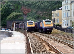 43125 & 43138 pass Dawlish (Thrash Merchant) Tags: railroad train canon seaside diesel rail trains seawall devon railways firstgreatwestern mtu hst dawlish highspeedtrain class43 intercity125 firstgroup ic125 passingtrains fgw eos450d 43138 powercar kennawaytunnel crosscountrytrains firsttrains dawlishseawall 43025 firstgreatwesternhst fgwhst passinghst