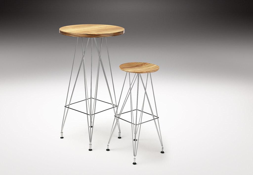 Weightless Bar Table & Weightless Round Barstool, Designed  by Haldane Martin, Photo Justin Patrick