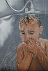 Falling down (Linnea Strid) Tags: boy art water painting drops bath artist tub oil commission photorealism linneastrid