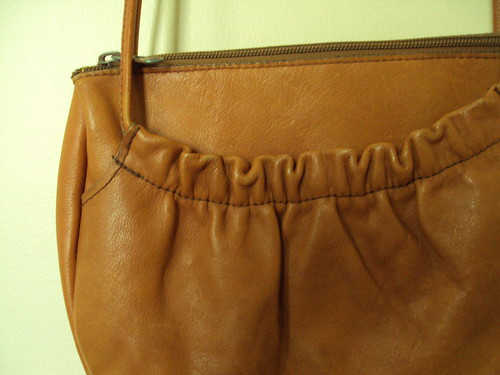 Little Leather Ruffle Purse Close Up