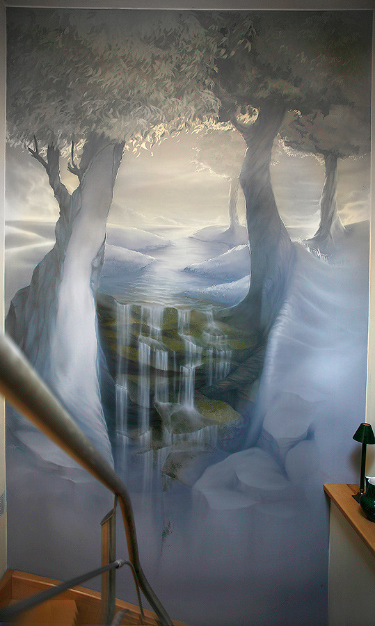 Waterfall (lars.schueller) Tags: Art Painting Waterfall Wasserfall Gotha  Airbrush Wandmalerei Photorealistic