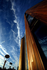 Reach for the Sky (blinkingidiot) Tags: nottingham morning up architecture modern reflections campus hope early wooden university looking jubilee halls perspective dream structure vision residence higher jubileecampus aboveandbeyondlevel1 aboveandbeyondlevel2