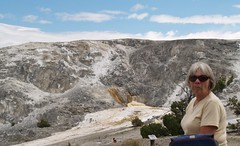 Mom at Mammoth Hot Spring (theclyde) Tags: usa wyoming yellowstonepark