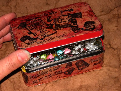 GI - Sept 10 - Pins & Needles Tin - Open - Ink  Stained Roni