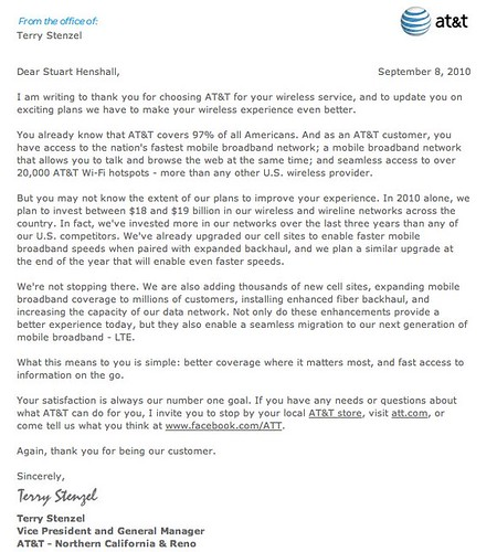 ATu0026T Fails A Social Media Marketing Test U2013 The Terry Stenzel Letter  Response | Stuart Henshall