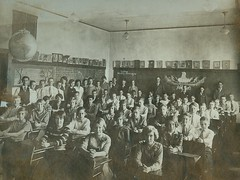 A classroom awaits its teacher (Kingkongphoto & www.celebrity-photos.com) Tags: old city school portrait favorite history love america vintage studio children europe photographer child play classroom image time antique fineart rustic 19thcentury 1800s fame human actress actor americana cdv cartedevisite drama past rare learn starsandstripes smalltown relic oldglory occupation longtimeago cabinetphoto wwwcelebrityphotoscom copyright2010johnmathewsmith