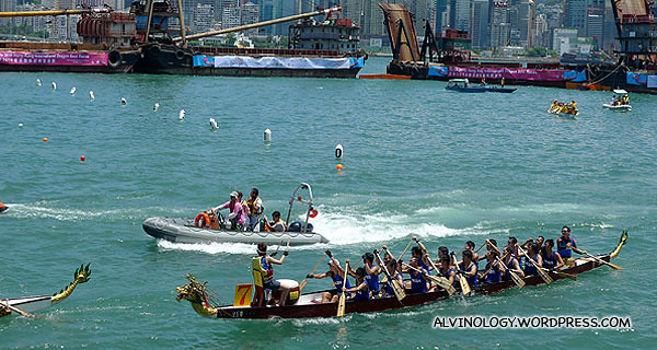 Dragon boat race going on