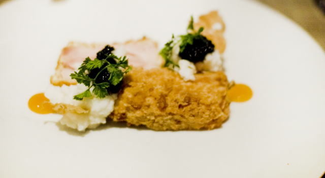 cold fried chicken, buttermilk-ricotta, tabasco, caviar