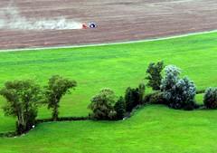 Smoky Gonzalez;) (:Linda:) Tags: road tractor tree field germany town meadow wiese thuringia soil brook fortress burg erde blumenwiese heldburg birdseyeview farmwork erdboden strase wildblumenwiese landstrase erdreich ackerboden vesteheldburg ruralequipment badcolbergheldburg