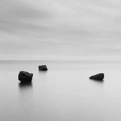 Three Rocks II (dougchinnery.com) Tags: blue sea sunrise grey dawn bay coast seaside rocks yorkshire overcast minimal east minimalism minimalist nab saltwick