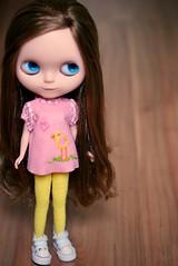 Lana (Bruna Lacrout ) Tags: pink lana colors birds yellow cores doll blueeyes passarinho blythe brunette custom allstar rbl ucg takaratomy carvedmounth sonya230picnik