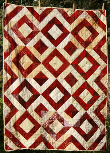 Burgundy and cream Depression Block quilt