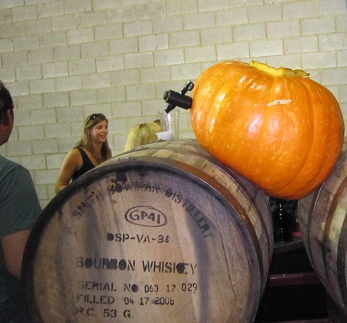 Pumpkin ale poured FROM a pumpkin!