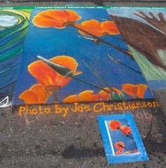 IMG_0014 (flygrl67) Tags: california ca blue sky orange green art chalk artist drawing poppy poppies mission centralcoast eschscholzia fundraiser slo sanluisobispo broadstreet californica imadonnari nativeplant italianstreetpaintingfestival childrenscreativeproject lgaarchitecture inclgaarchitecture