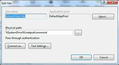 Default Web site - Basic settings