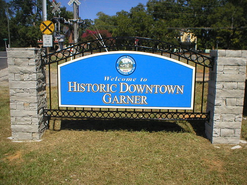 stone sign and marker for historic district in Garner, North Carolina