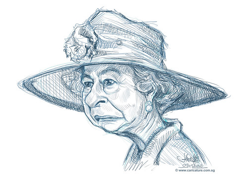 digital sketch of Queen Elizabeth II -1
