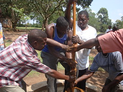 Eburenga pri.School-dis-connection of rusted juakali pump.