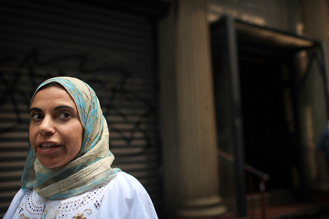 Muslim Woman Attends Friday Prayers in Lower Manhattan