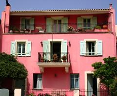 Pretty in pink (stezza50) Tags: pink windows house green pretty greece shutters kefalonia lixouri