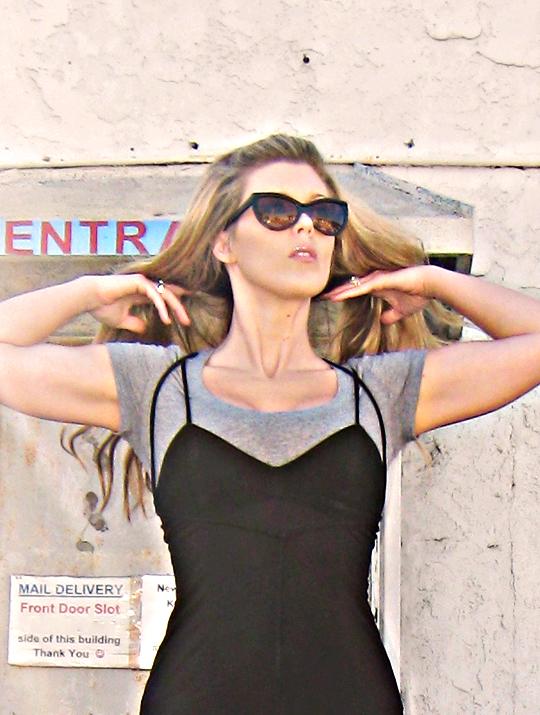 Tom Ford Anouk Sunglasses+dress over t shirt+90's dress+long hair