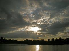 Sunset . (Fijgje On/Off) Tags: sunset reflection water clouds zonsondergang wolken olympusfe280 leerkeven fijgje sept2010