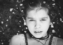 Spring Dreaming ({amanda}) Tags: flowers blackandwhite girl petals spring mood moody child naturallight whiteflowers 85mm14 amandakeeysphotography spring2010
