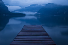 Misty Morning (NatashaP) Tags: longexposure morning blue mist lake mountains reflection fog austria pier explore hallstatt beforedawn interestingness70 mywinners