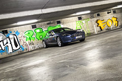 Aston Martin Rapide (Murphy Photography) Tags: blue art germany doors grafitti martin garage 4 cologne dirty aston rapide bensberg