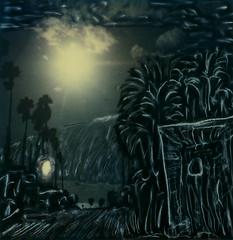 Nuit Américaine (tobysx70) Tags: ocean california santa ca toby sun moon tree night polaroid sx70 photography for day pacific manipulation palm monica hancock nuit timezero américaine panpola