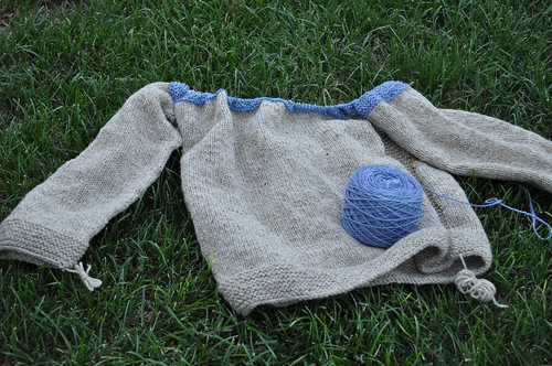 Cobblestone Inspired partially handspun sweater