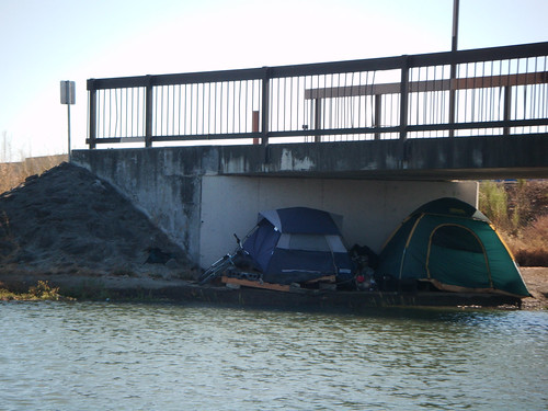 tents under the footbridge