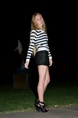 DSC_7295 (FASHION SNAG) Tags: leather shorts nautical stripedsweater leathershorts nauticalsweater strappywedges