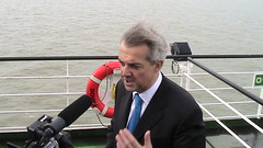 Chris Huhne attending the opening of the Thane...