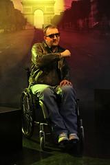 BadBoy on wheels (olliwulff) Tags: portrait leather wheelchair wheels hasselblad motorbike rocker disabled motorcycle biker wheeler badboy photokina handicapped rollstuhl hellsangels disable lederjacke behindert olliwulff