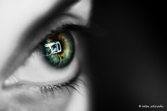 eye contact (helen sotiriadis) Tags: iris portrait bw brown white selfportrait black macro reflection green eye closeup canon dof lashes bokeh monitor depthoffield filter sp remote contactlens selectivecoloring canonef100mmf28macrousm liveview canoneos40d marumicloseup4filter