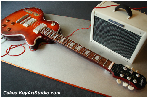 Epiphone Electric Guitar and Fender Amplifier Bar Mitzvah Cake